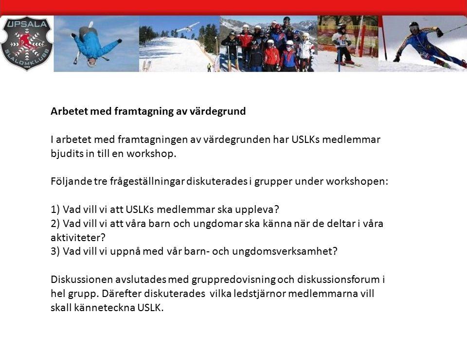 Arbetet med framtagning av värdegrund I arbetet med framtagningen av värdegrunden har USLKs medlemmar bjudits in till en workshop.