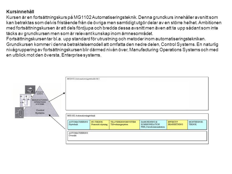 Kursinnehåll Kursen är en fortsättningskurs på MG1102 Automatiseringsteknik.