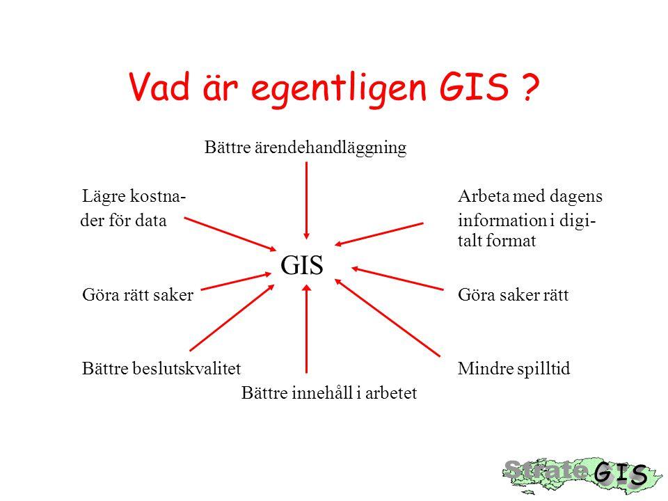 Vad är egentligen GIS ? Bättre ärendehandläggning Lägre kostna- Arbeta med dagens der för data information i digi- talt format GIS Göra rätt saker Gör
