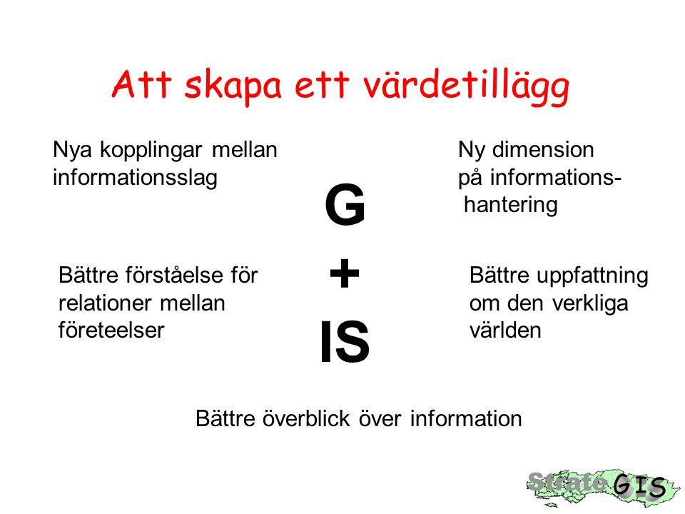 Att skapa ett värdetillägg G + IS Nya kopplingar mellan Ny dimension informationsslag på informations- hantering Bättre förståelse för Bättre uppfattning relationer mellan om den verkliga företeelser världen Bättre överblick över information