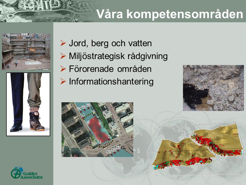  Jord, berg och vatten  Miljöstrategisk rådgivning  Förorenade områden  Informationshantering Våra kompetensområden