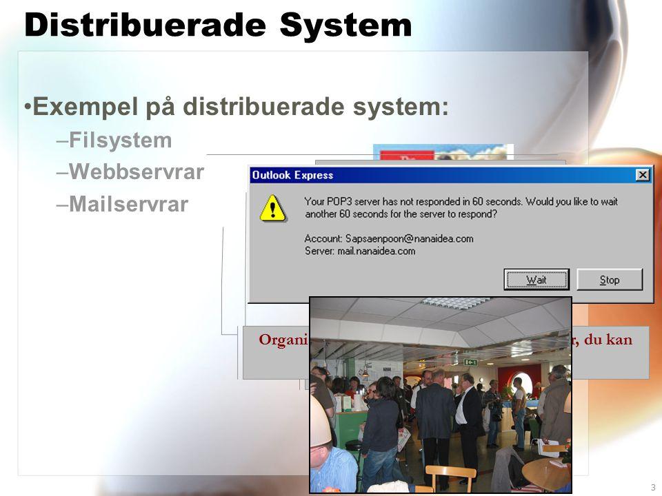 ali@sics.se3 Distribuerade System Exempel på distribuerade system: –Filsystem –Webbservrar –Mailservrar Ofta har varje organisation en gemensam central filserver där filer lagras Kraschar den, så kommer ingen åt sina filer.