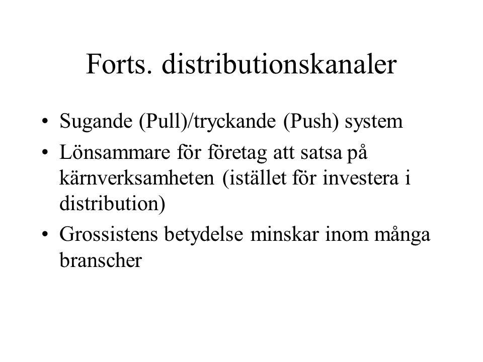 Forts. distributionskanaler Sugande (Pull)/tryckande (Push) system Lönsammare för företag att satsa på kärnverksamheten (istället för investera i dist
