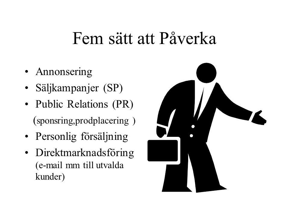 Fem sätt att Påverka Annonsering Säljkampanjer (SP) Public Relations (PR) ( sponsring,prodplacering ) Personlig försäljning Direktmarknadsföring (e-ma