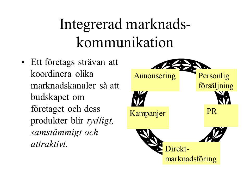 Integrerad marknads- kommunikation Ett företags strävan att koordinera olika marknadskanaler så att budskapet om företaget och dess produkter blir tyd