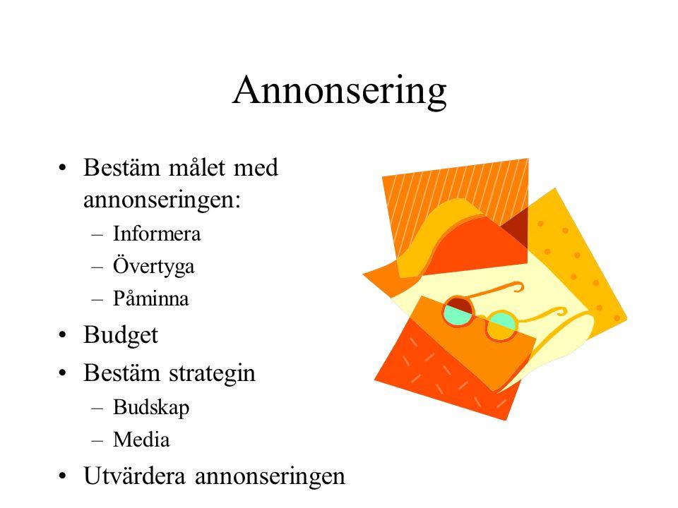 Annonsering Bestäm målet med annonseringen: –Informera –Övertyga –Påminna Budget Bestäm strategin –Budskap –Media Utvärdera annonseringen