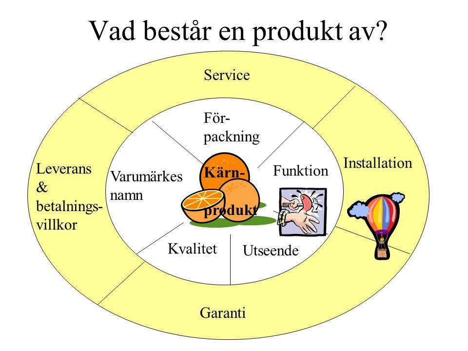 Vad består en produkt av? För- packning Funktion Utseende Kvalitet Varumärkes namn Service Installation Leverans & betalnings- villkor Garanti Kärn- p