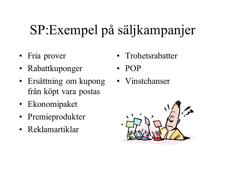 SP:Exempel på säljkampanjer Fria prover Rabattkuponger Ersättning om kupong från köpt vara postas Ekonomipaket Premieprodukter Reklamartiklar Trohetsr