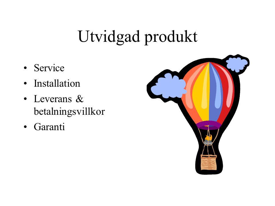 Utvidgad produkt Service Installation Leverans & betalningsvillkor Garanti