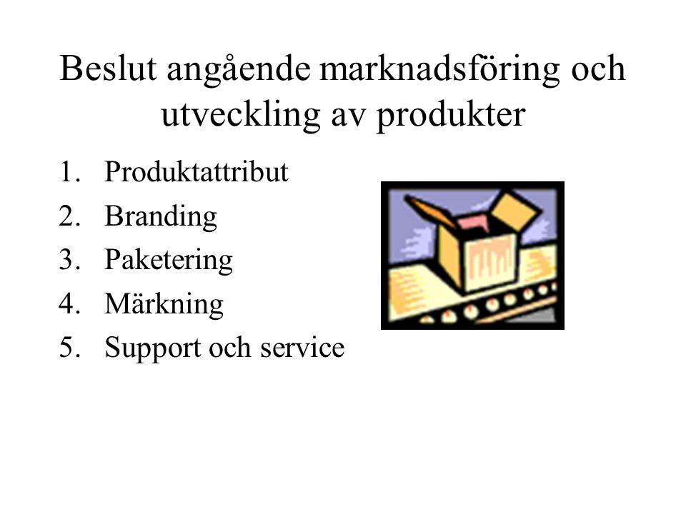 Beslut angående marknadsföring och utveckling av produkter 1.Produktattribut 2.Branding 3.Paketering 4.Märkning 5.Support och service
