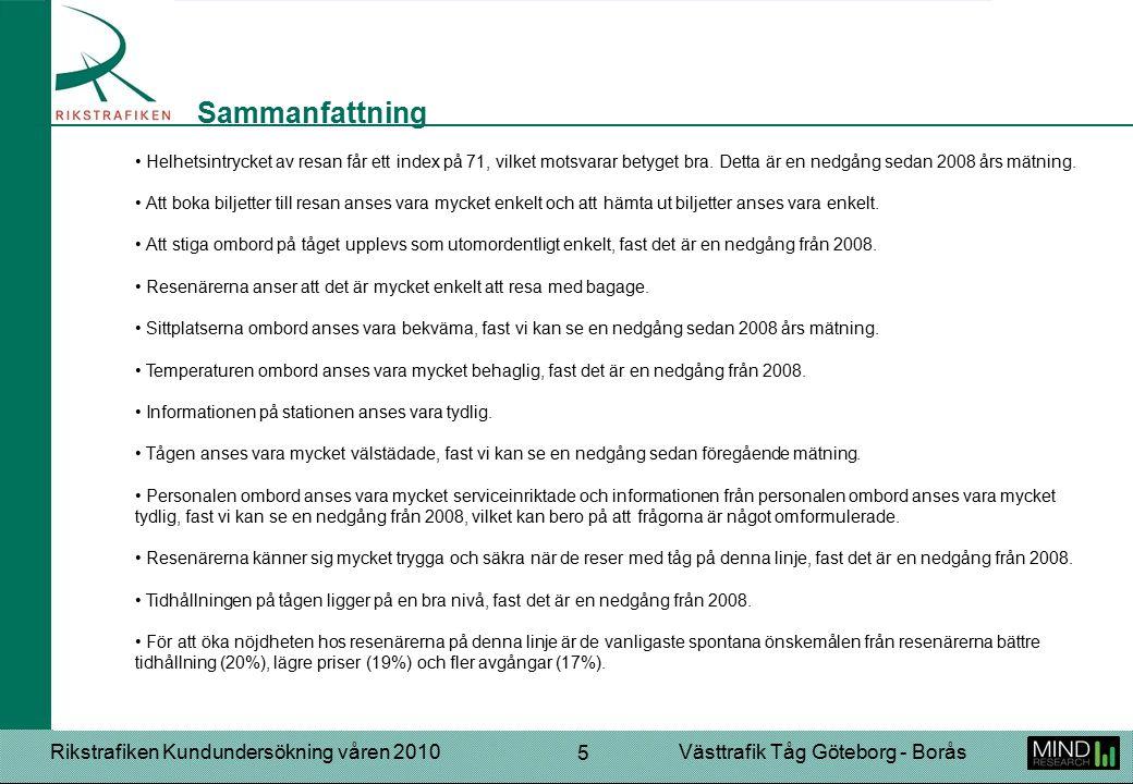 Rikstrafiken Kundundersökning våren 2010Västtrafik Tåg Göteborg - Borås 16