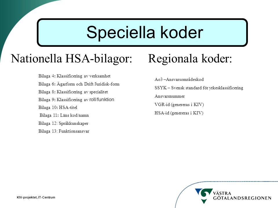 KIV-projektet, IT-Centrum Nationella HSA-bilagor: Regionala koder: Speciella koder Bilaga 4: Klassificering av verksamhet Bilaga 6: Ägarform och Drift