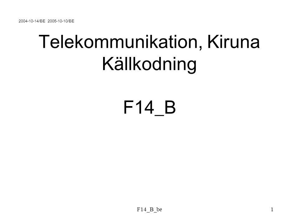 F14_B_be12 HUFFMANKOD exempel 2 : SymbolSannolikhet AAA1/72 AAB7/72 ABA21/72 BAA7/72 ABB7/72 BAB21/72 BBA7/72 BBB1/72