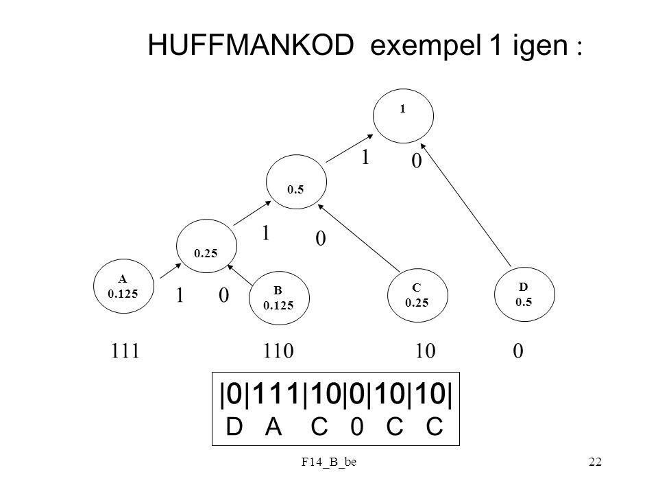 F14_B_be22 HUFFMANKOD exempel 1 igen : 0.5 B 0.125 C 0.25 D 0.5 0.25 A 0.125 1 1 0 1 1 0 0 111 110 10 0 |0|111|10|0|10|10| D A C 0 C C