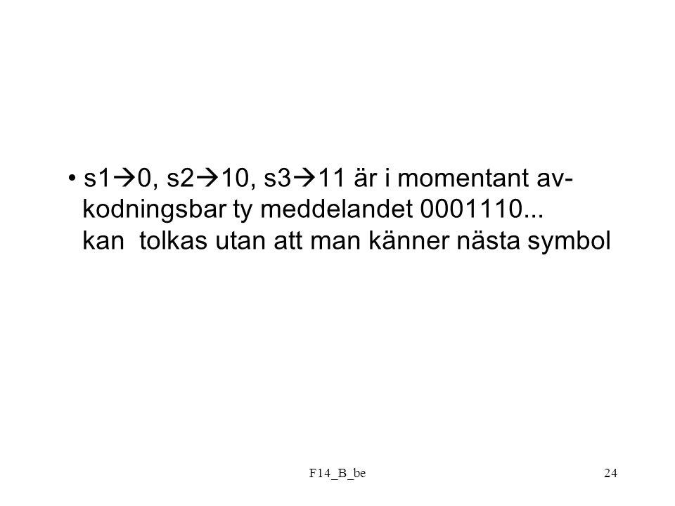 F14_B_be24 s1  0, s2  10, s3  11 är i momentant av- kodningsbar ty meddelandet 0001110... kan tolkas utan att man känner nästa symbol