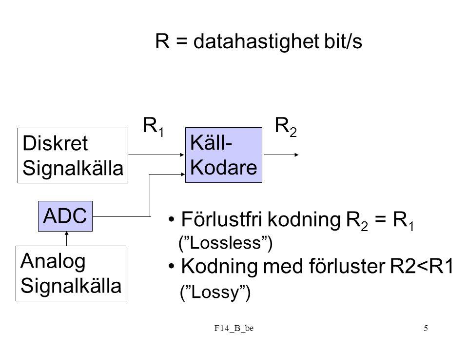 F14_B_be26 Symbolsannolikhet A3/8 B3/16 C D1/8 E1/16 F1/32 G Konstruera en lämplig kodning av detta: Svar: exempel på kod: 1,011,010,001,0001,00001,00000 N=2.44, H=2.37 effektivitet 97.4%