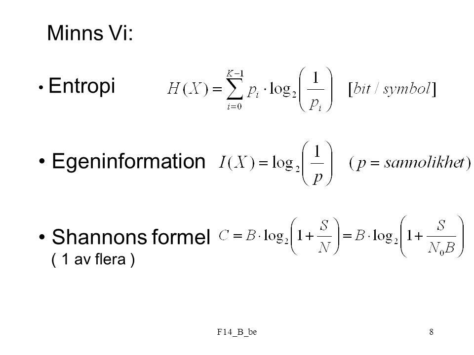 F14_B_be8 Minns Vi: Entropi Egeninformation Shannons formel ( 1 av flera )