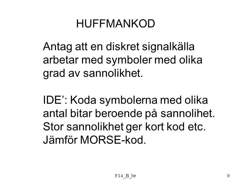 F14_B_be9 HUFFMANKOD Antag att en diskret signalkälla arbetar med symboler med olika grad av sannolikhet. IDE': Koda symbolerna med olika antal bitar