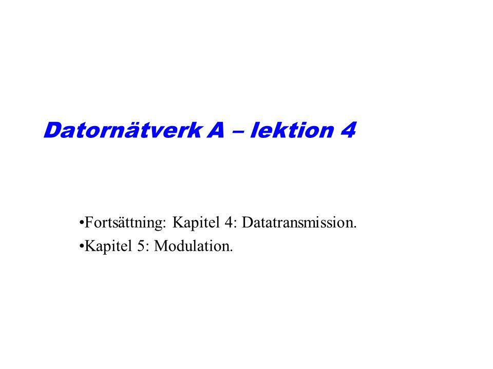 Datornätverk A – lektion 4 Fortsättning: Kapitel 4: Datatransmission. Kapitel 5: Modulation.