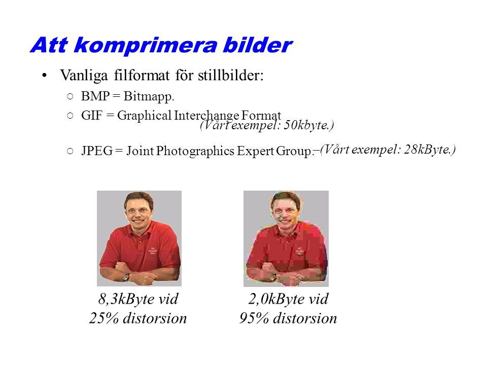Example with different number of pixels 13x15 pixels och 256 färger 13x15x8bit = 1560bit bitmappad bild 206x233 pixels och 16 färger 206x233x4bit = 192000bit bitmappad bild 206x233 pixels och 256 färger 206x233x8bit = 384000bit bitmappad bild