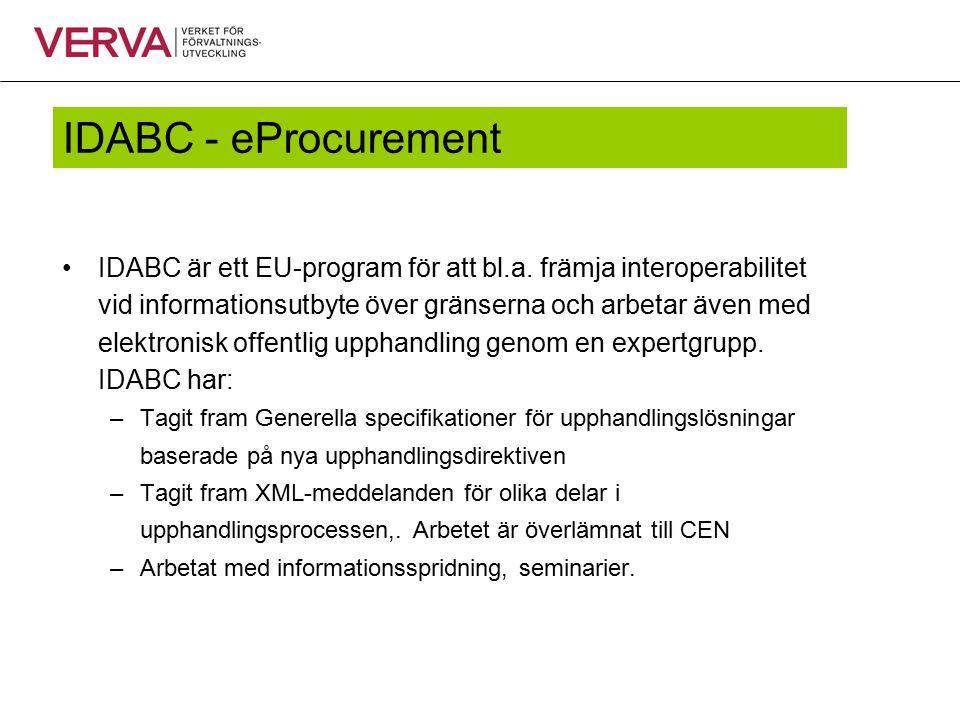 IDABC - eProcurement IDABC är ett EU-program för att bl.a. främja interoperabilitet vid informationsutbyte över gränserna och arbetar även med elektro