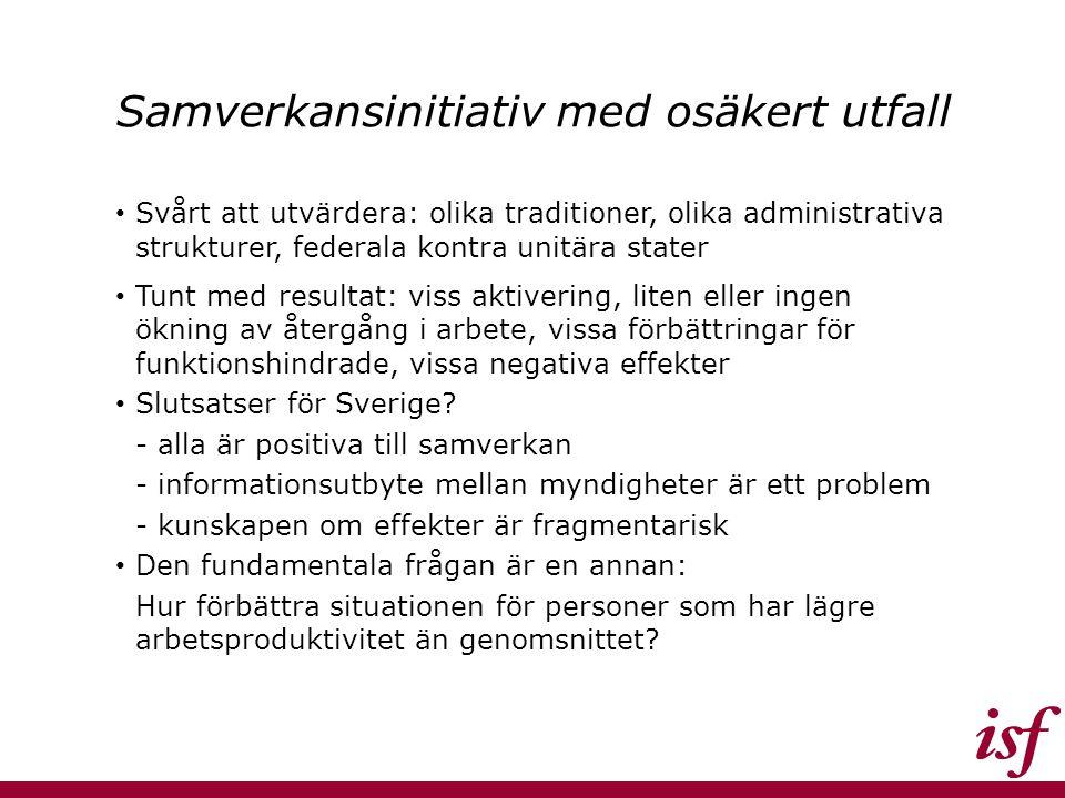Samverkansinitiativ med osäkert utfall Svårt att utvärdera: olika traditioner, olika administrativa strukturer, federala kontra unitära stater Tunt med resultat: viss aktivering, liten eller ingen ökning av återgång i arbete, vissa förbättringar för funktionshindrade, vissa negativa effekter Slutsatser för Sverige.