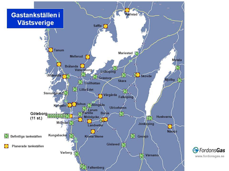 Uddevalla Vänersborg Mariestad Skara Skövde Jönköping Borås Partille Lerum Alingsås Mölndal Kungsbacka Varberg Stenungsund Befintliga tankställen Göte