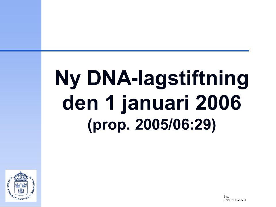 Stab LNS 2015-03-31 Ny DNA-lagstiftning den 1 januari 2006 (prop. 2005/06:29)