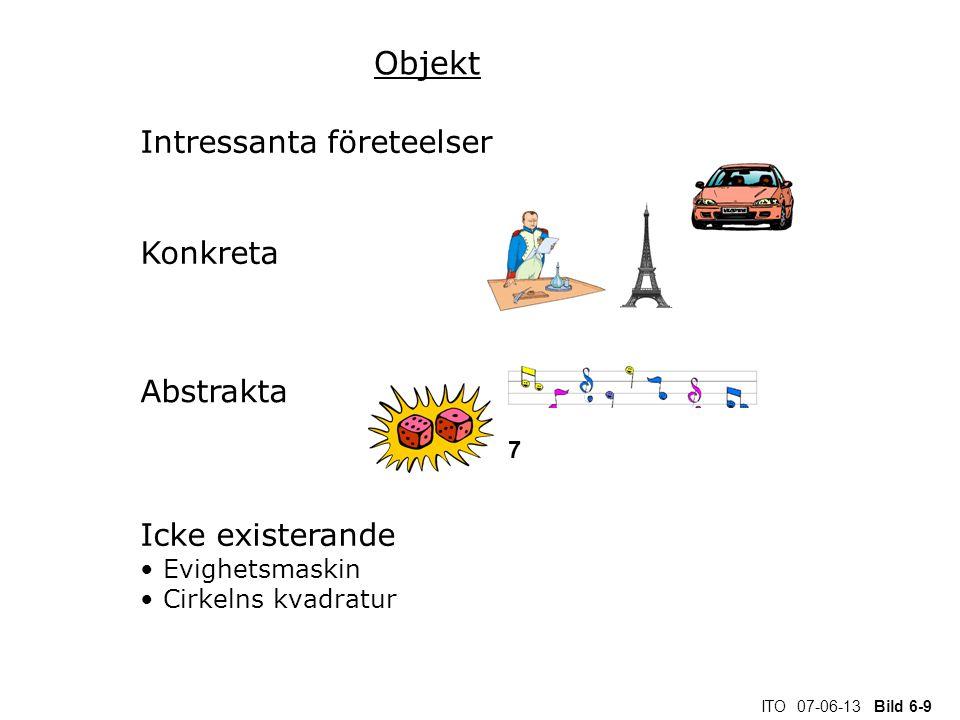 ITO 07-06-13 Bild 6-9 Objekt Intressanta företeelser Konkreta Abstrakta Icke existerande Evighetsmaskin Cirkelns kvadratur 7