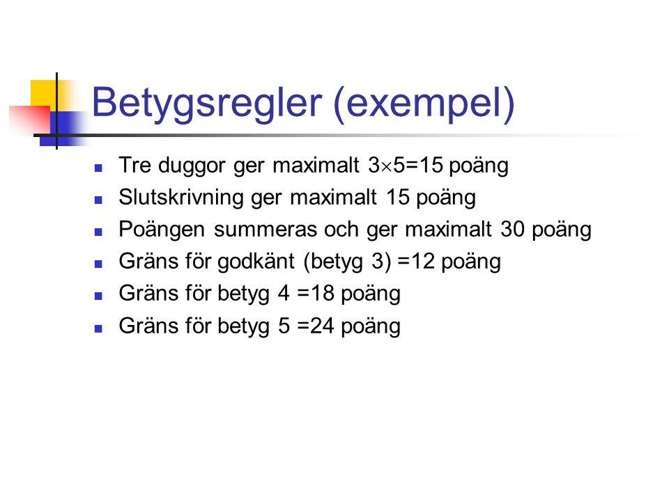 Betygsregler (exempel) Tre duggor ger maximalt 3  5=15 poäng Slutskrivning ger maximalt 15 poäng Poängen summeras och ger maximalt 30 poäng Gräns för godkänt (betyg 3) =12 poäng Gräns för betyg 4 =18 poäng Gräns för betyg 5 =24 poäng
