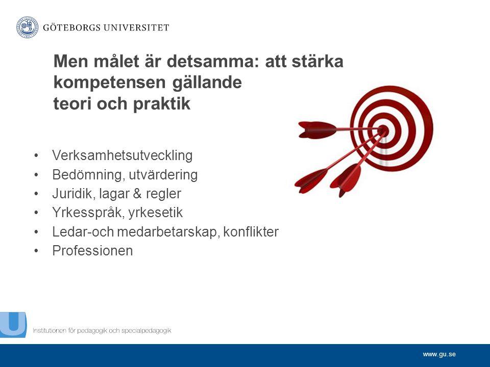 www.gu.se Verksamhetsutveckling Bedömning, utvärdering Juridik, lagar & regler Yrkesspråk, yrkesetik Ledar-och medarbetarskap, konflikter Professionen