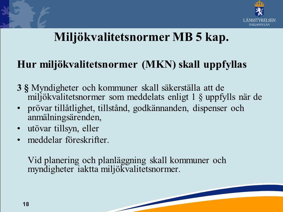 18 Miljökvalitetsnormer MB 5 kap. Hur miljökvalitetsnormer (MKN) skall uppfyllas 3 § Myndigheter och kommuner skall säkerställa att de miljökvalitetsn