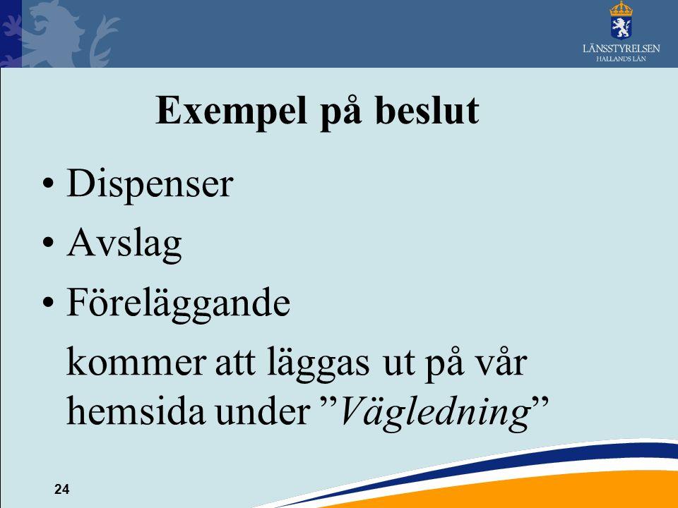 """24 Exempel på beslut Dispenser Avslag Föreläggande kommer att läggas ut på vår hemsida under """"Vägledning"""""""