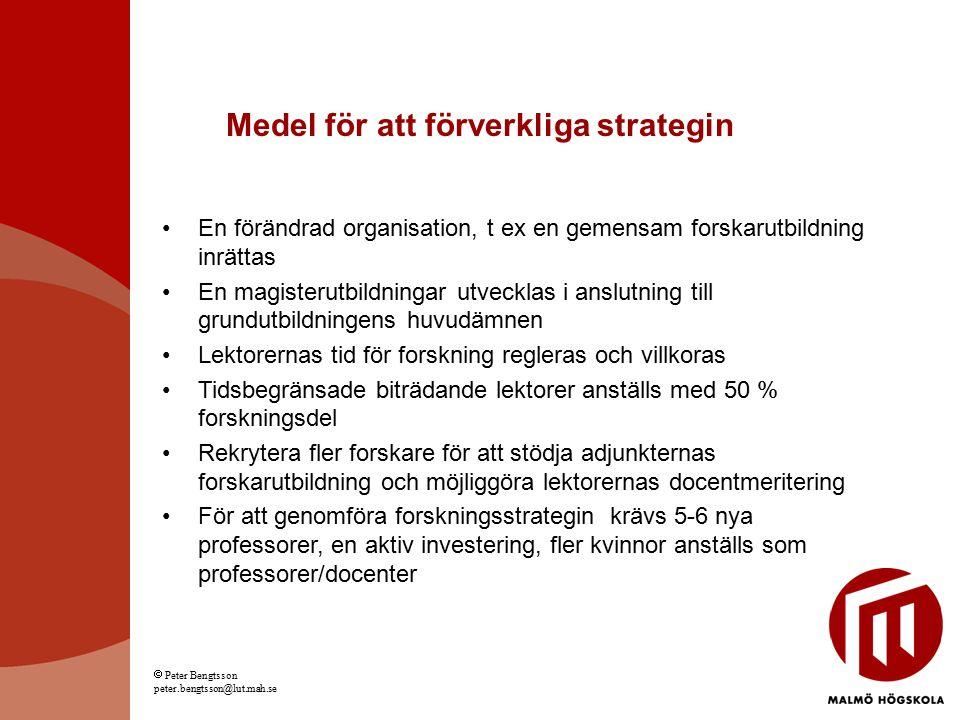 Medel för att förverkliga strategin En förändrad organisation, t ex en gemensam forskarutbildning inrättas En magisterutbildningar utvecklas i anslutn