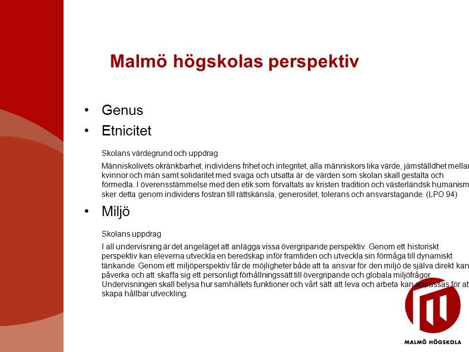 Malmö högskolas perspektiv Genus Etnicitet Skolans värdegrund och uppdrag Människolivets okränkbarhet, individens frihet och integritet, alla människo
