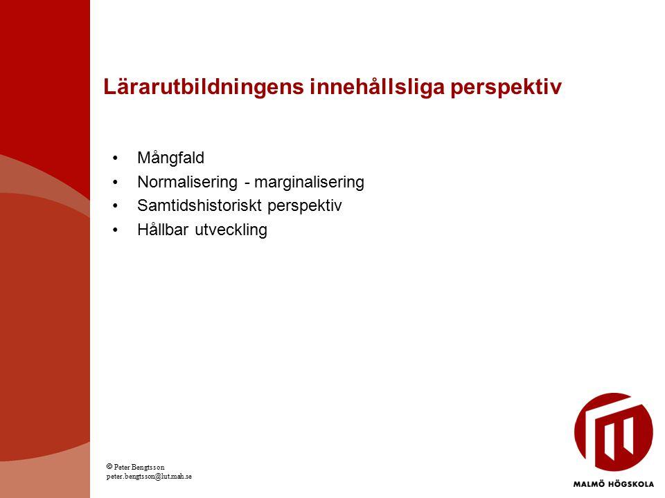 Lärarutbildningens innehållsliga perspektiv Mångfald Normalisering - marginalisering Samtidshistoriskt perspektiv Hållbar utveckling  Peter Bengtsson