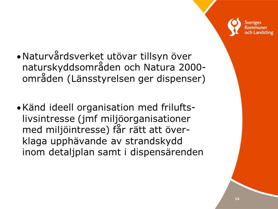 15 Naturvårdsverket utövar tillsyn över naturskyddsområden och Natura 2000- områden (Länsstyrelsen ger dispenser) Känd ideell organisation med frilufts- livsintresse (jmf miljöorganisationer med miljöintresse) får rätt att över- klaga upphävande av strandskydd inom detaljplan samt i dispensärenden