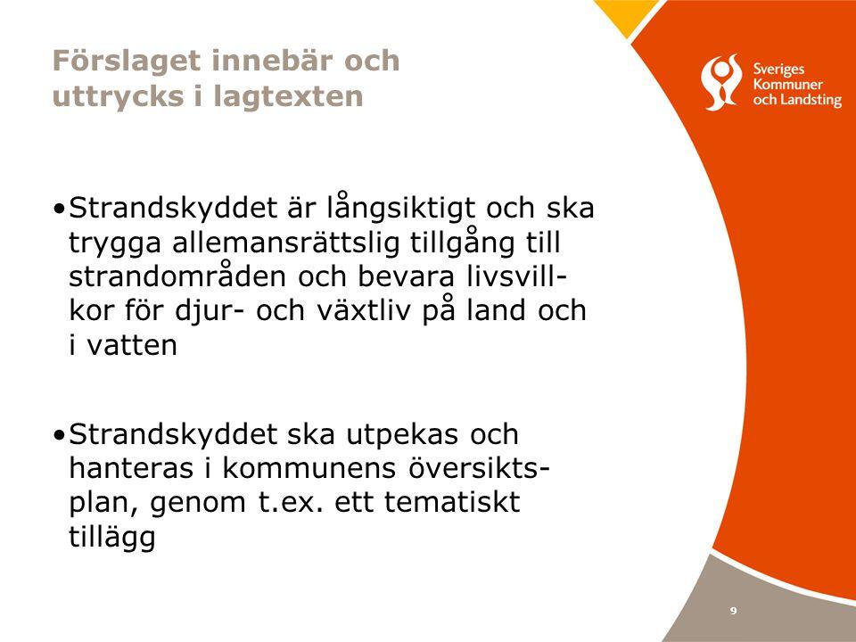 9 Förslaget innebär och uttrycks i lagtexten Strandskyddet är långsiktigt och ska trygga allemansrättslig tillgång till strandområden och bevara livsvill- kor för djur- och växtliv på land och i vatten Strandskyddet ska utpekas och hanteras i kommunens översikts- plan, genom t.ex.
