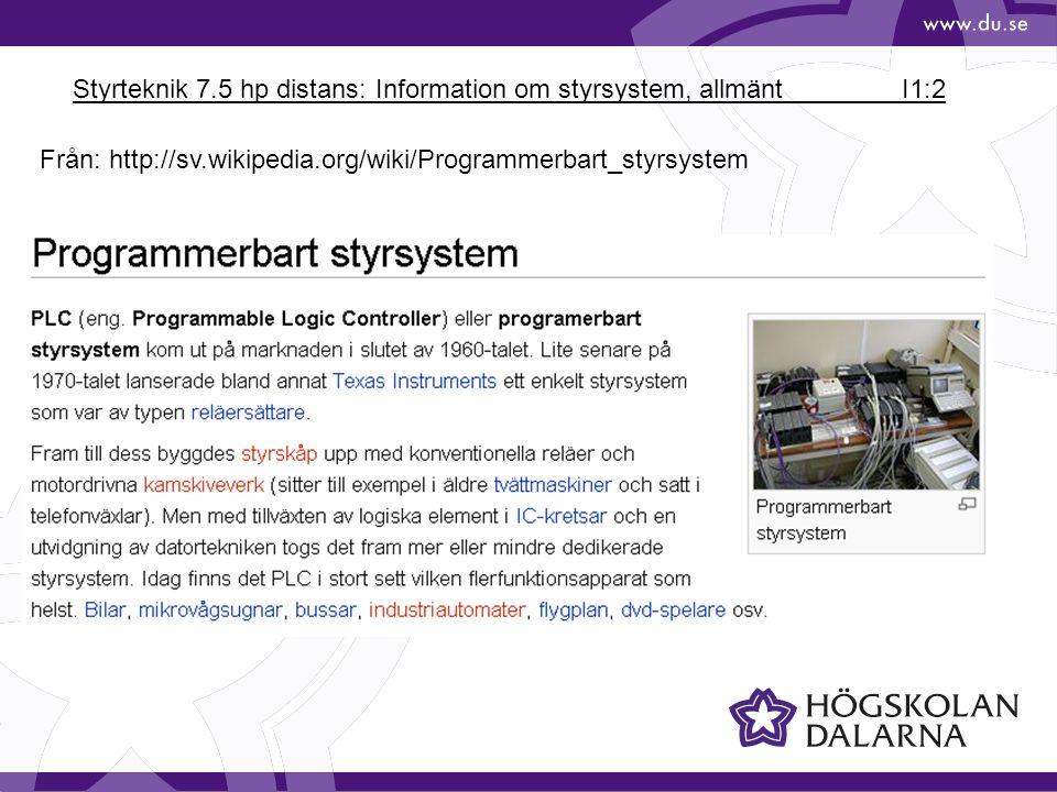 Styrteknik 7.5 hp distans: Information om styrsystem, allmänt I1:3