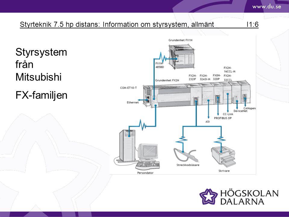 Styrteknik 7.5 hp distans: Information om styrsystem, allmänt I1:6 Styrsystem från Mitsubishi FX-familjen