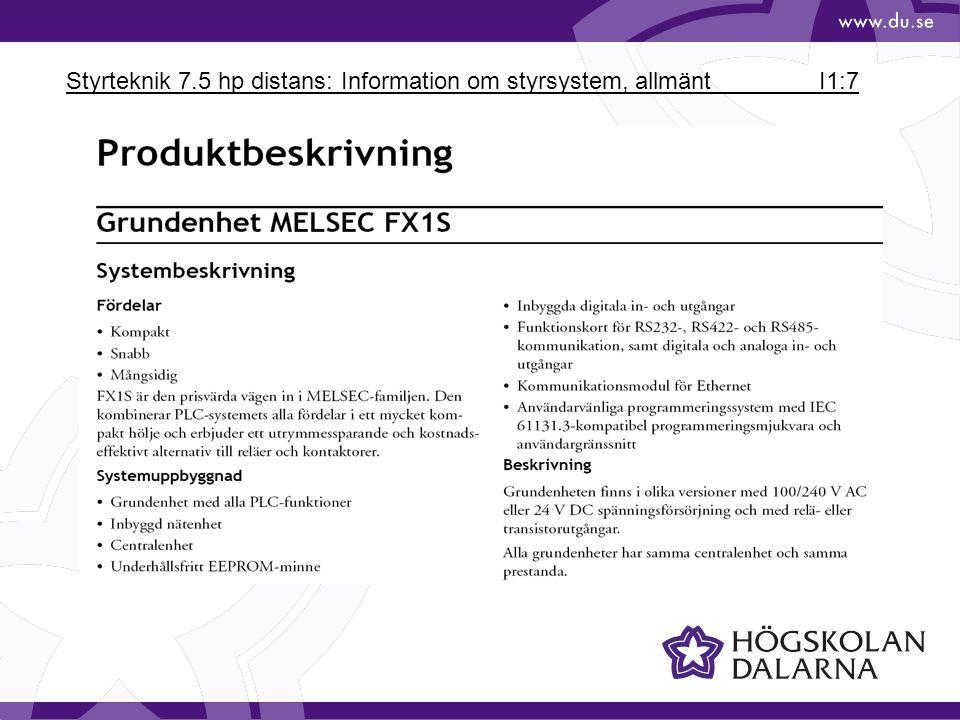 Styrteknik 7.5 hp distans: Information om styrsystem, allmänt I1:7