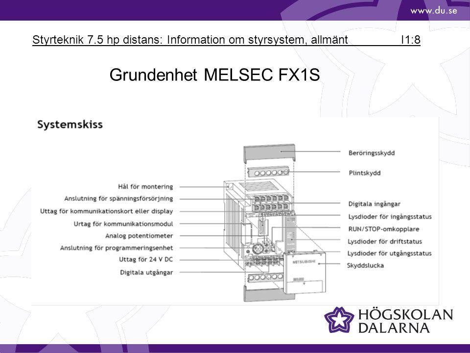 Styrteknik 7.5 hp distans: Information om styrsystem, allmänt I1:8 Grundenhet MELSEC FX1S