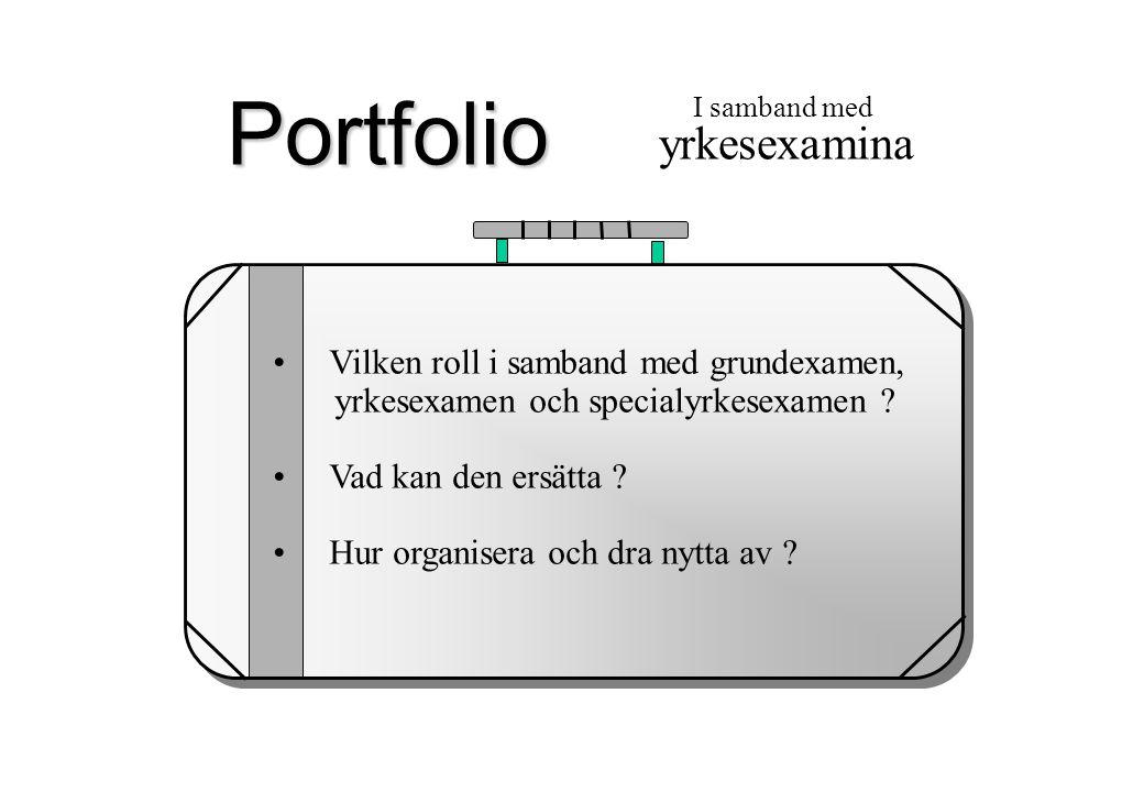 Portfolio I samband med yrkesexamina Vilken roll i samband med grundexamen, yrkesexamen och specialyrkesexamen .