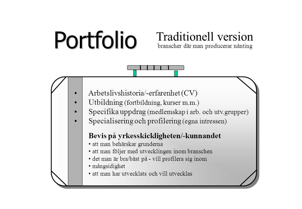 Portfolio Traditionell version branscher där man producerar nånting Arbetslivshistoria/-erfarenhet (CV) Utbildning (fortbildning, kurser m.m.) Specifika uppdrag (medlemskap i arb.