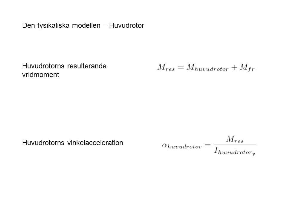 Den fysikaliska modellen – Huvudrotor Huvudrotorns resulterande vridmoment Huvudrotorns vinkelacceleration