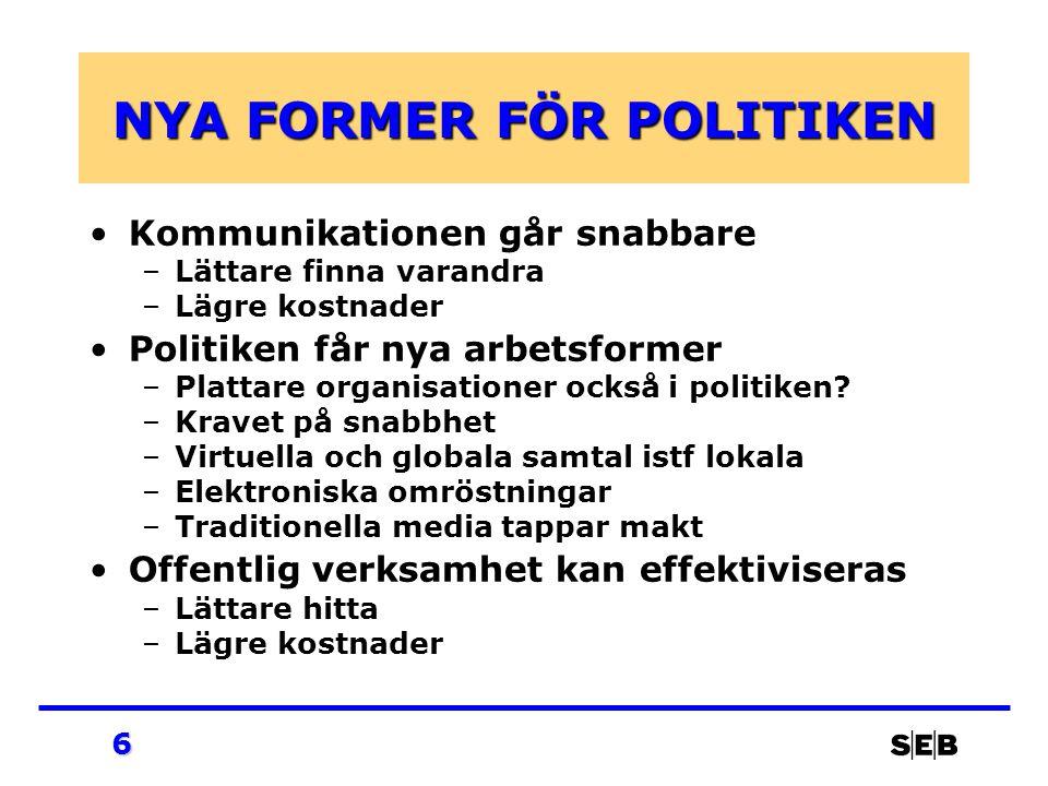 6 NYA FORMER FÖR POLITIKEN Kommunikationen går snabbare –Lättare finna varandra –Lägre kostnader Politiken får nya arbetsformer –Plattare organisationer också i politiken.