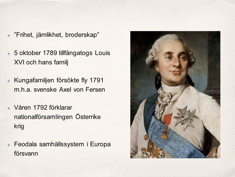 ✤ Frihet, jämlikhet, broderskap ✤ 5 oktober 1789 tillfångatogs Louis XVI och hans familj ✤ Kungafamiljen försökte fly 1791 m.h.a.