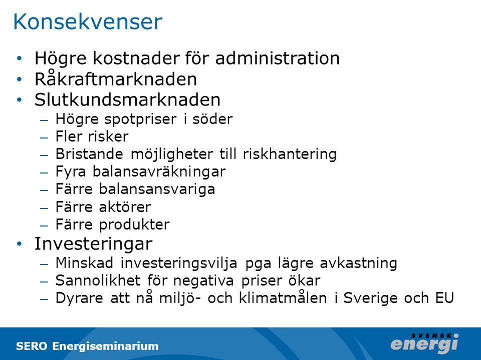 Konsekvenser Högre kostnader för administration Råkraftmarknaden Slutkundsmarknaden – Högre spotpriser i söder – Fler risker – Bristande möjligheter till riskhantering – Fyra balansavräkningar – Färre balansansvariga – Färre aktörer – Färre produkter Investeringar – Minskad investeringsvilja pga lägre avkastning – Sannolikhet för negativa priser ökar – Dyrare att nå miljö- och klimatmålen i Sverige och EU SERO Energiseminarium