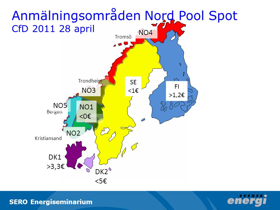 Bergen Tromsö Trondheim Oslo Kristiansand NO3 NO4 NO2 DK1 >3,3€ DK2 <5€ SE <1€ FI >1,2€ NO1 <0€ NO5 Anmälningsområden Nord Pool Spot CfD 2011 28 april