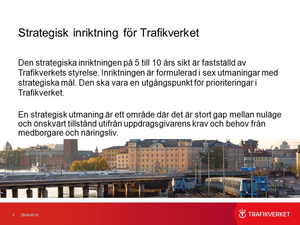 22015-03-31 Strategisk inriktning för Trafikverket Den strategiska inriktningen på 5 till 10 års sikt är fastställd av Trafikverkets styrelse. Inriktn